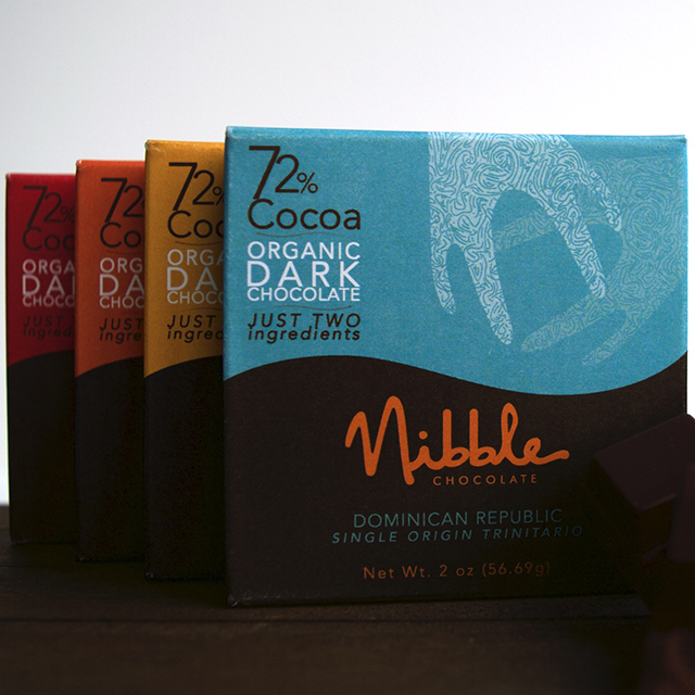 Nibble Chocolate 72% chocolate bar flight