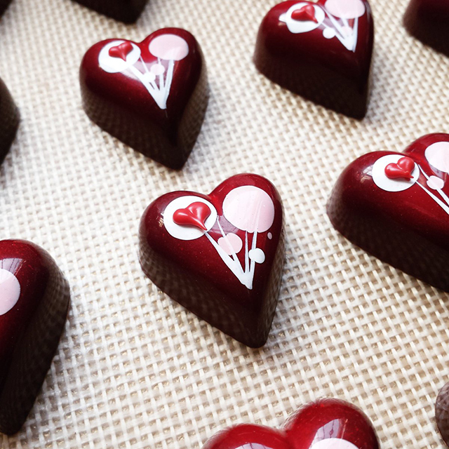 Heart bonbons from Roselen Chocolatier