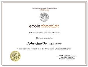 Ecole Chocolat Certificate